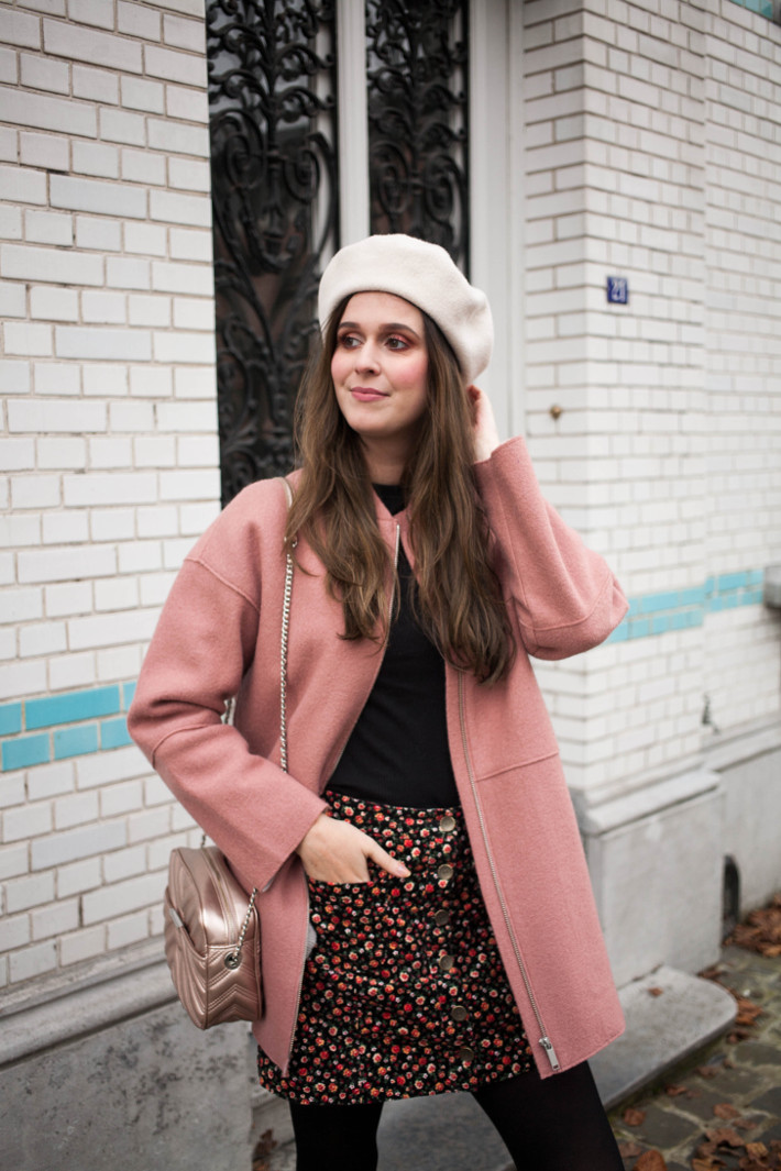 Outfit: beret, pink cocoon coat