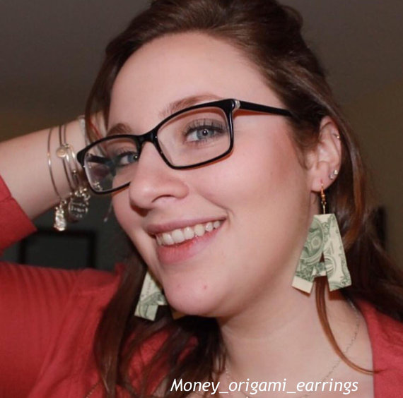 dollar bill earrings etsy