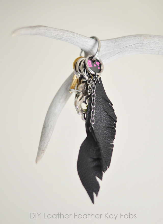 DIY gifts, Leather Feather Key Fobs