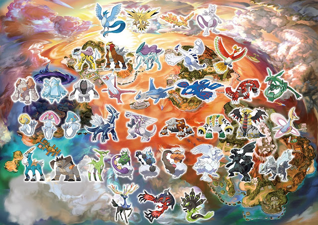 Pokémon Ultra Sun Moon all Legendary map