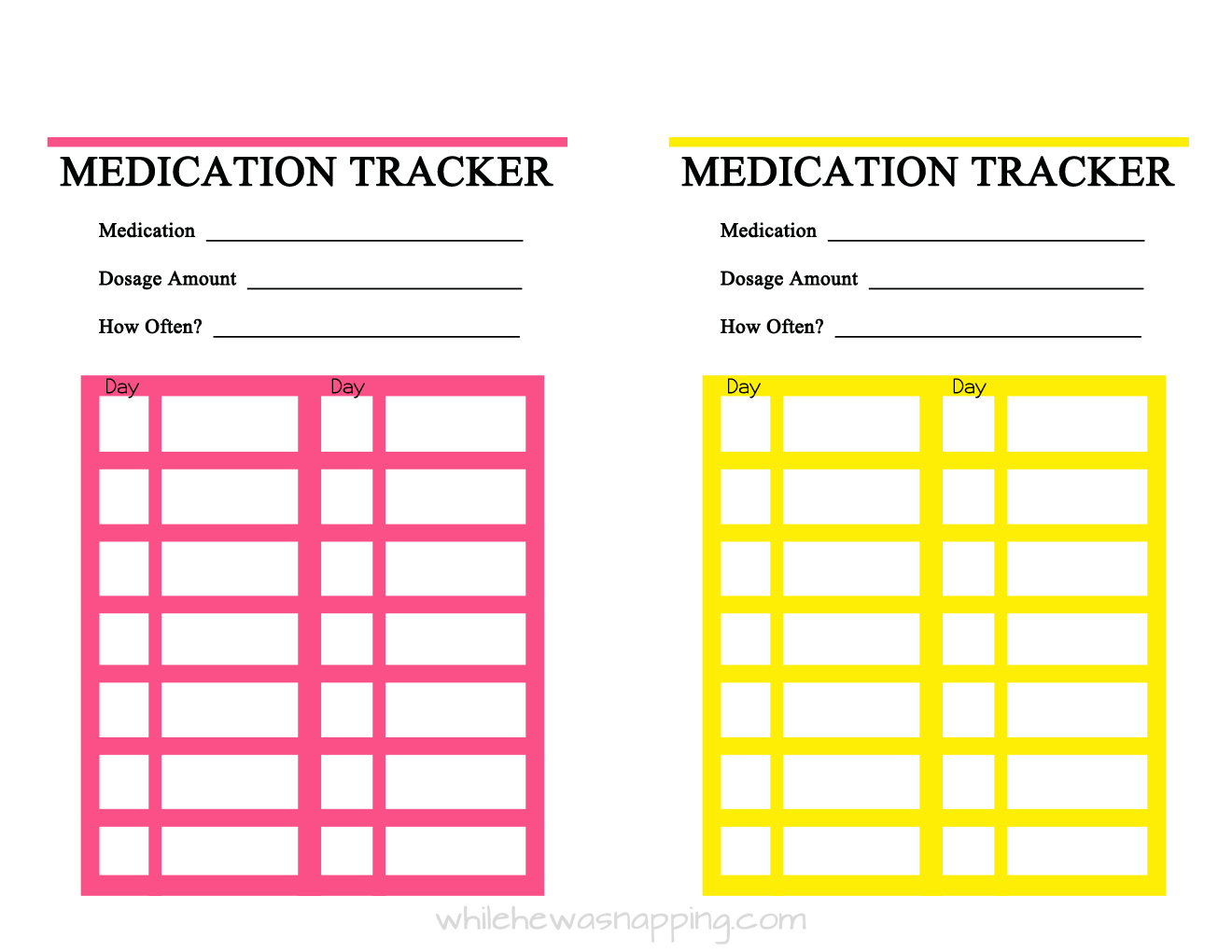 free printable medication trackers while he was napping. Black Bedroom Furniture Sets. Home Design Ideas