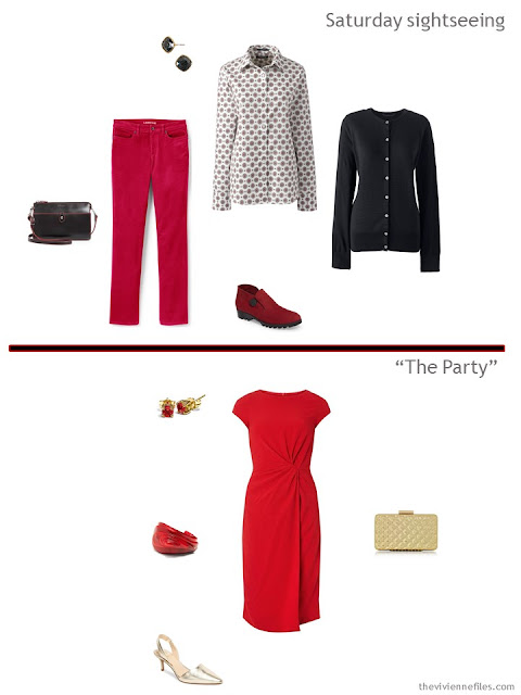 2 outfits from a travel capsule wardrobe in black, red and grey