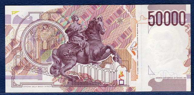 Italy's currency 50000 lire banknote