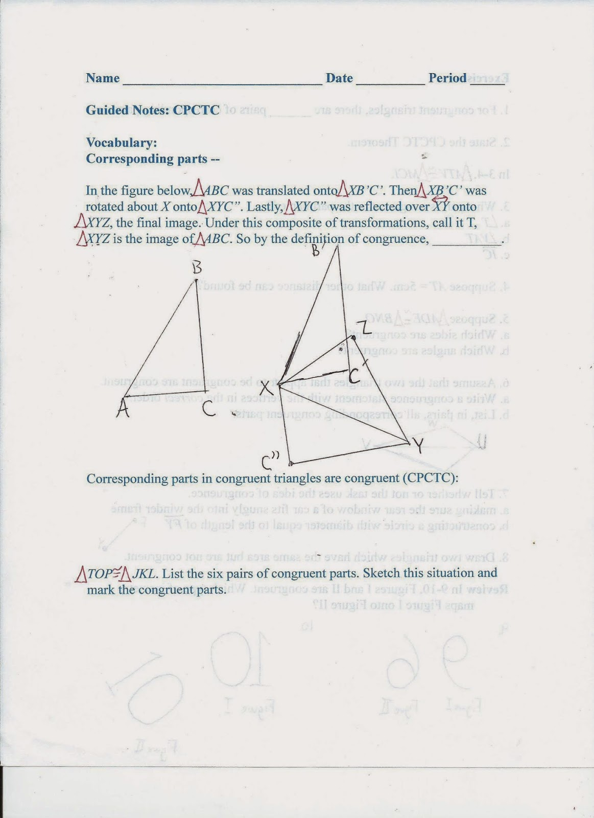 Geometry Common Core Style Section 6 7 Corresponding