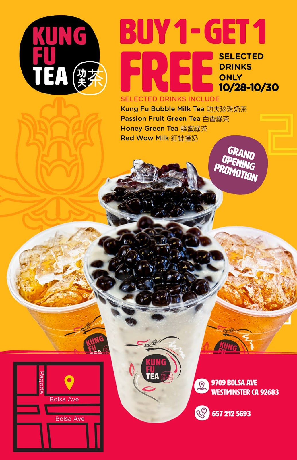 Oct. 28 - 30 | BOGO Free Drinks for Grand Opening of Kung Fu Tea - Westminster