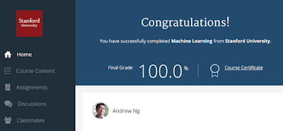 Finishing Coursera Course - Machine Learning by Andrew Ng