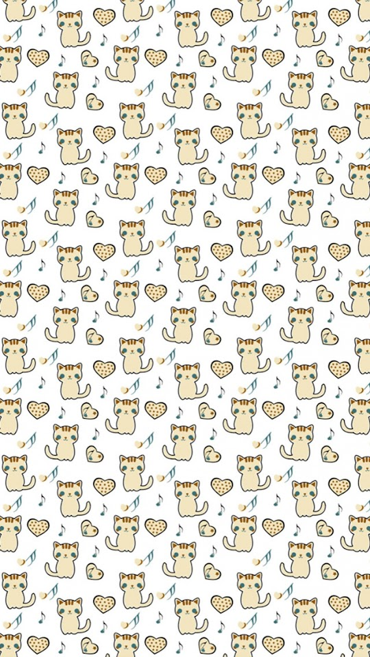 Cute Kitty and Heart Patterns   Galaxy Note HD Wallpaper