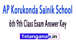 AP Korukonda Sainik School 6th 9th Class Exam Answer Key 2017
