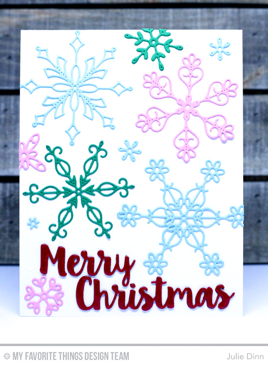 Handmade card from Julie Dinn featuring Merry Christmas and Stylish Snowflakes Die-namics #mftstamps