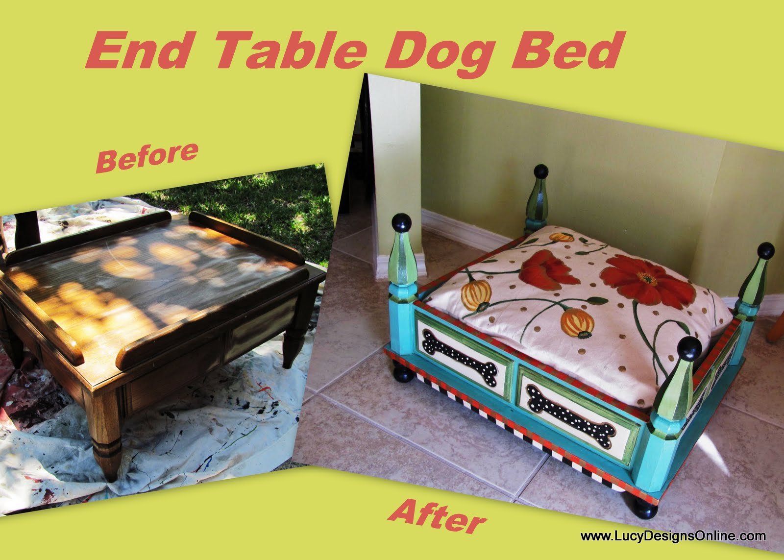 Preferred Hand Painted Turquoise Dog Bed from an End Table with Floral and  JA05