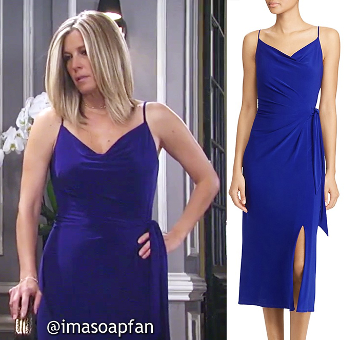 Carly Corinthos, Laura Wright, Blue Faux Wrap Jersey Dress, Lauren Ralph Lauren, General Hospital, GH