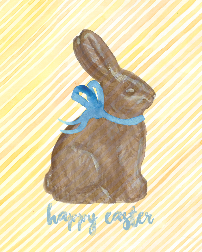 Free Printable Watercolor Chocolate Bunny Art