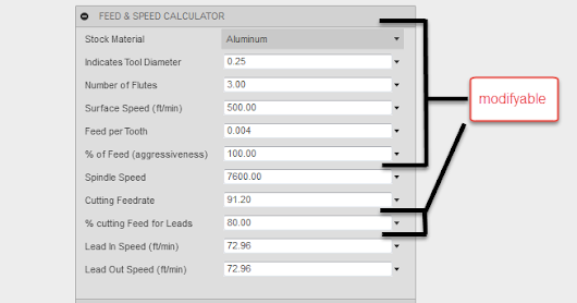 Basic speed and feed calculator