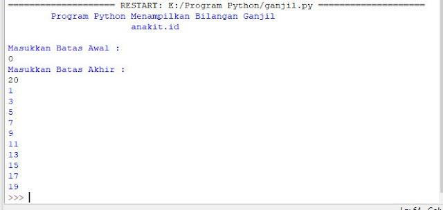 Program Python menampilkan deret bilangan ganjil