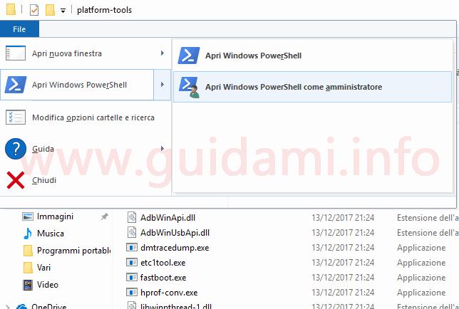 Cartella Windows menu File opzioni Apri PowerShell come amministratore