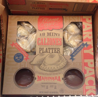 A box of Mama Cozzi's Mini Sausage Calzones Party Platter, from Aldi