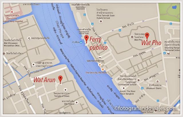 mapa Wat Arun en barco