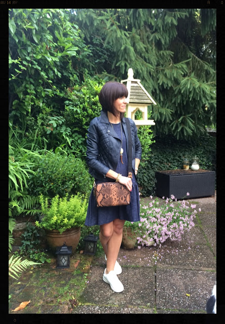 My Midlife Fashion, Marks and Spencer, Faux Leather Biker Jacket, Faux Crocodile Cross Body Bag, Trainers With Inflexia