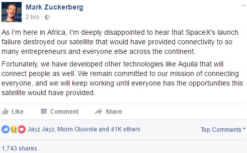 Mark Zuckerberg writes about Facebook's N8bn satellite that exploded today