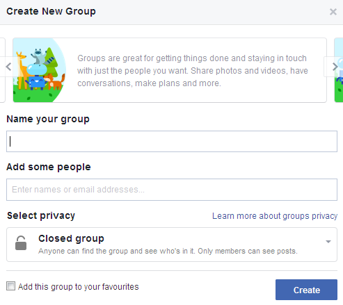 Creatiang a facebook group screen shot