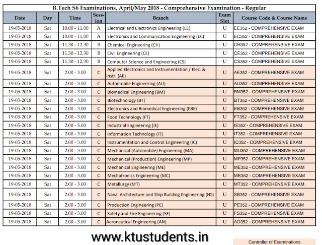 Ktu comprehensive exam timetable
