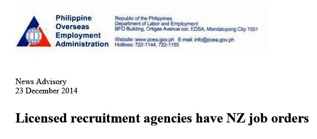 List of POEA's Accredited Agencies for New Zealand, Apply