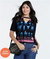 Moda Blusa Feminina Choker Estampa Frontal Marisa