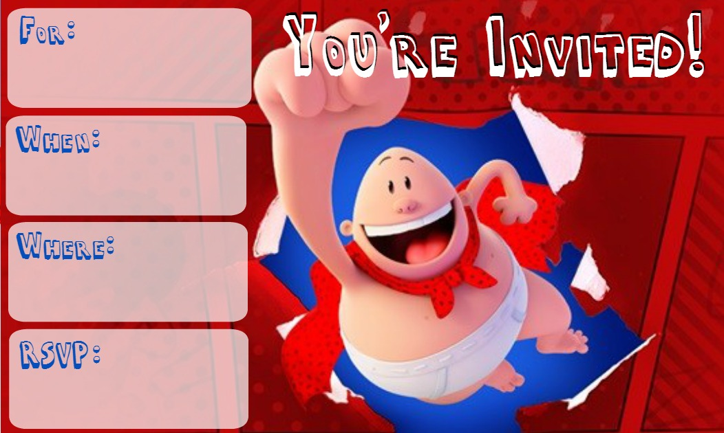 Musings of an Average Mom: Captain Underpants Movie Invitations
