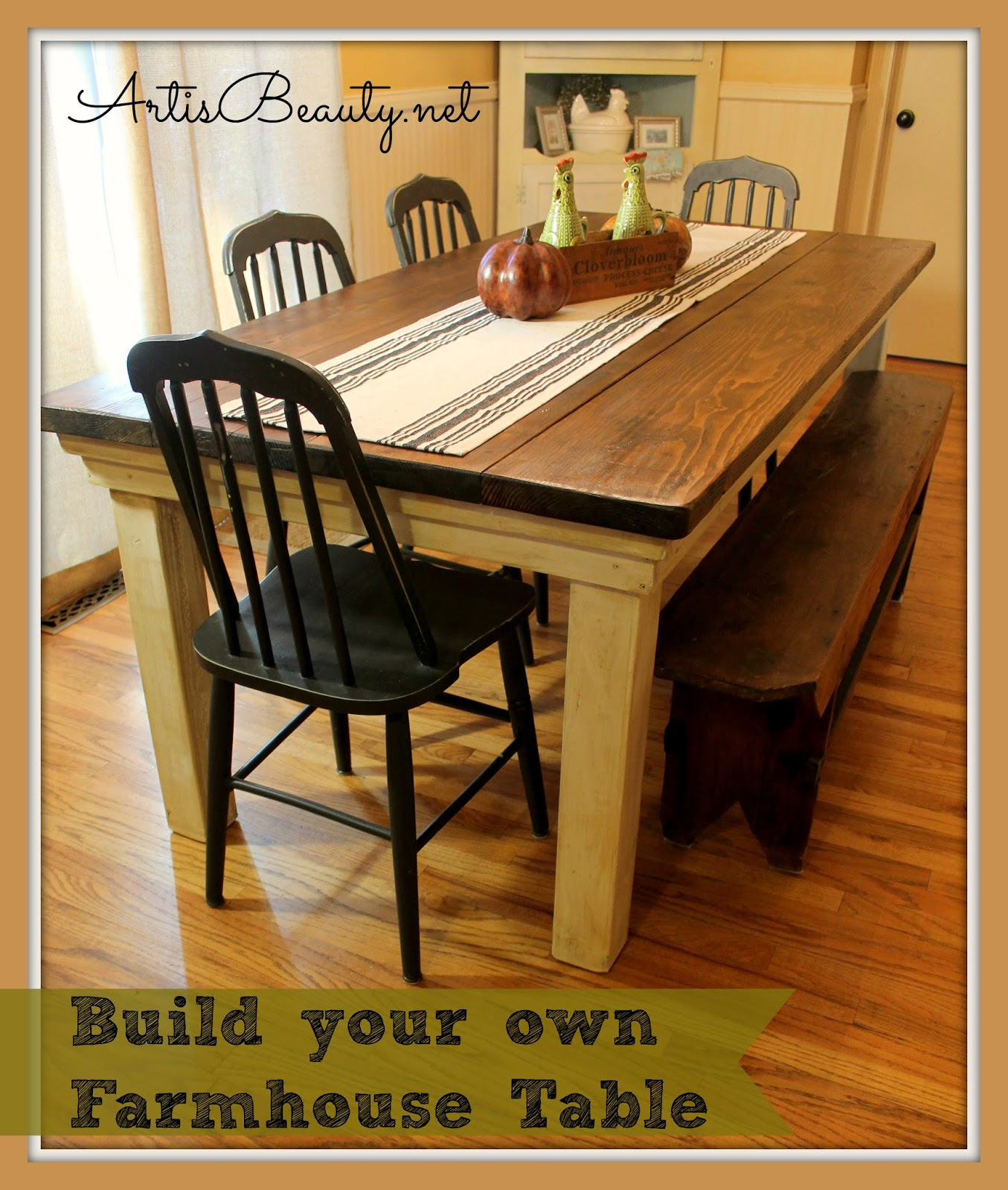 Build A Kitchen Table: ART IS BEAUTY: How To Build Your Own FarmHouse Table For