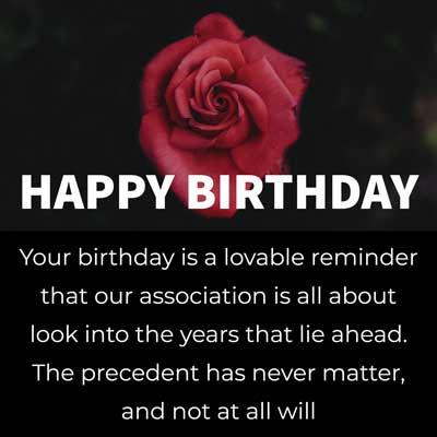 Your birthday is a lovable reminder that our association is all about look into the years that lie ahead. The precedent has never matter, and not at all will. Happy birthday!!!