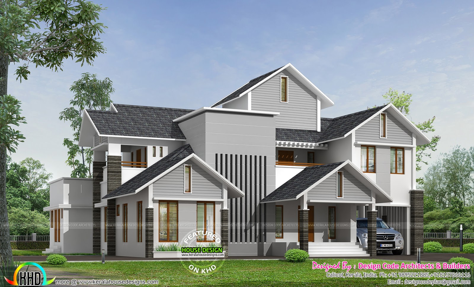 sloping roof modern home by design code architects kerala home
