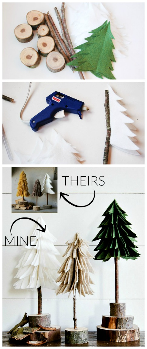 DIY rustic felt trees