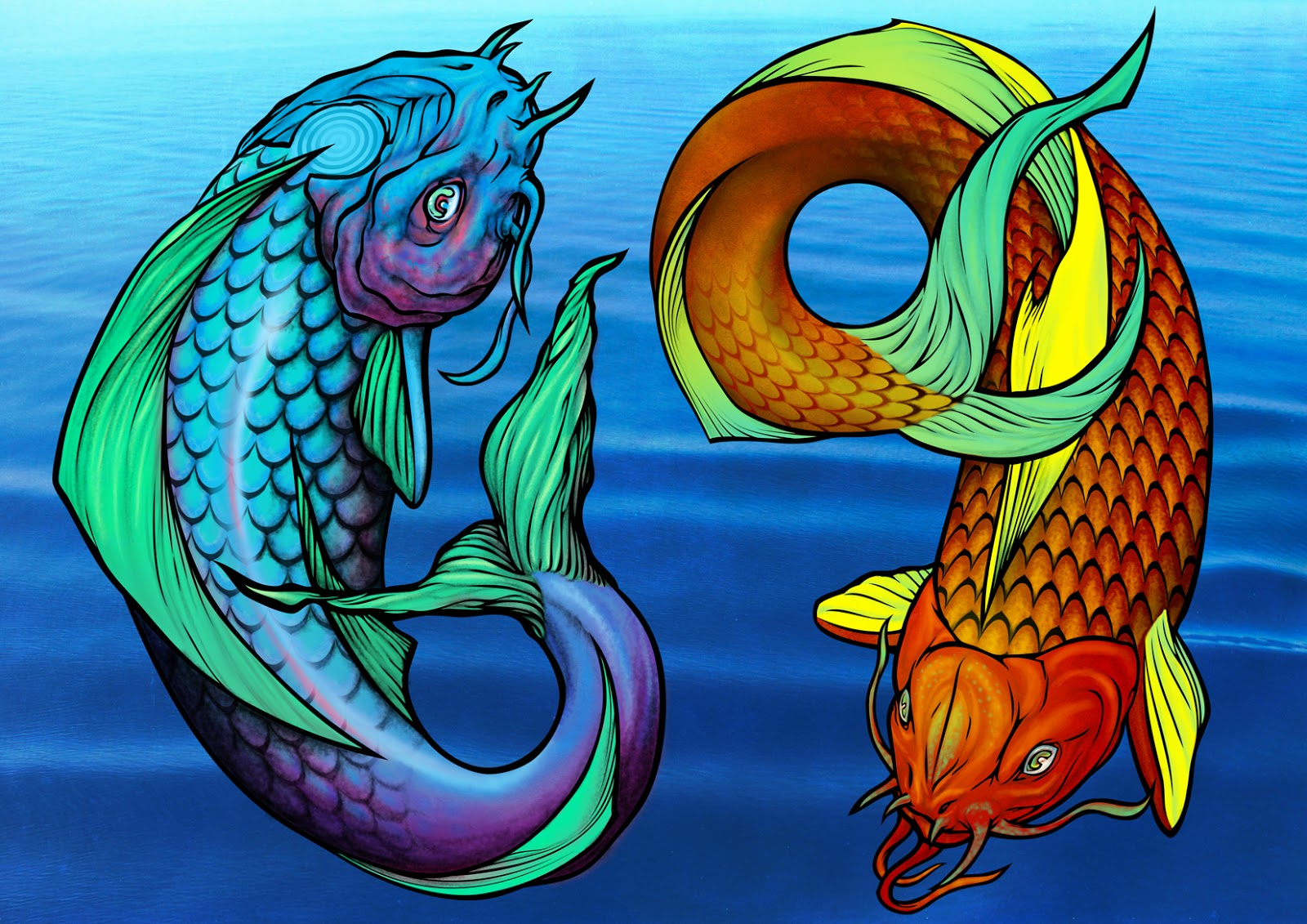 A Wolf Illustrations Blog: Koi Fish/Pisces/Ying Yang