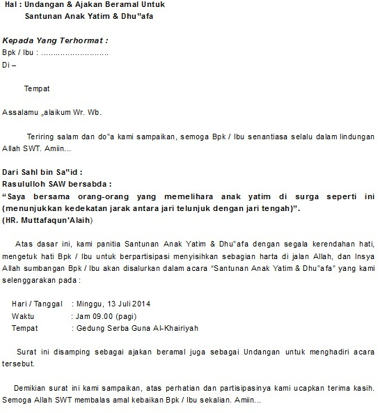 contoh surat undangan santunan anak yatim 2018 kumpulan
