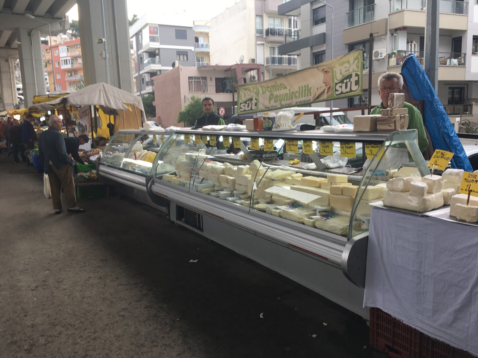 "LeeZe visits Izmir Sunday farmer's market. Cheese, Cheese, Cheese! And ""homemade"" butter!"