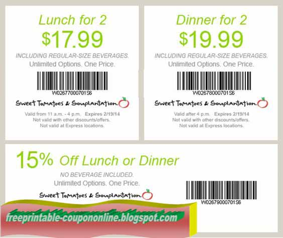 picture regarding Sweet Tomatoes Printable Coupons named Souplantation discount codes on the web : Parking sfo coupon codes