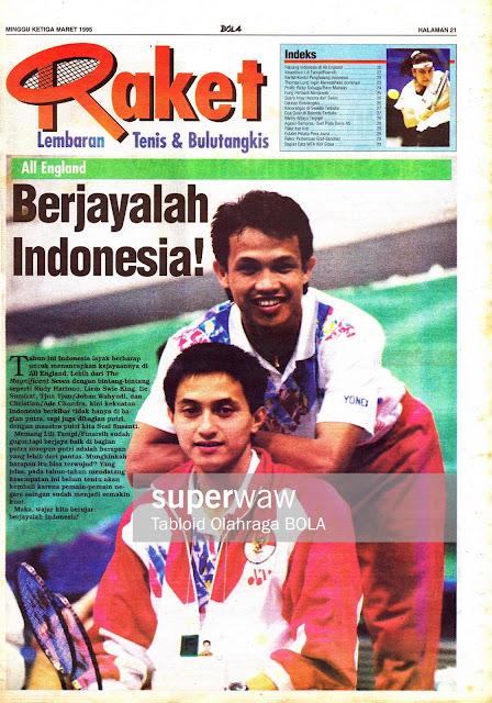 Lembaran Tenis & Bulutangkis: All England Berjayalah Indonesia