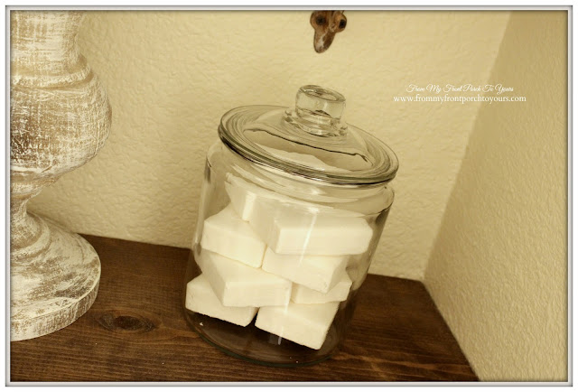 Farmhouse-Half Bathroom-Soap In Jar-Vignette-Farmhouse Style-From My Front Porch To Yours
