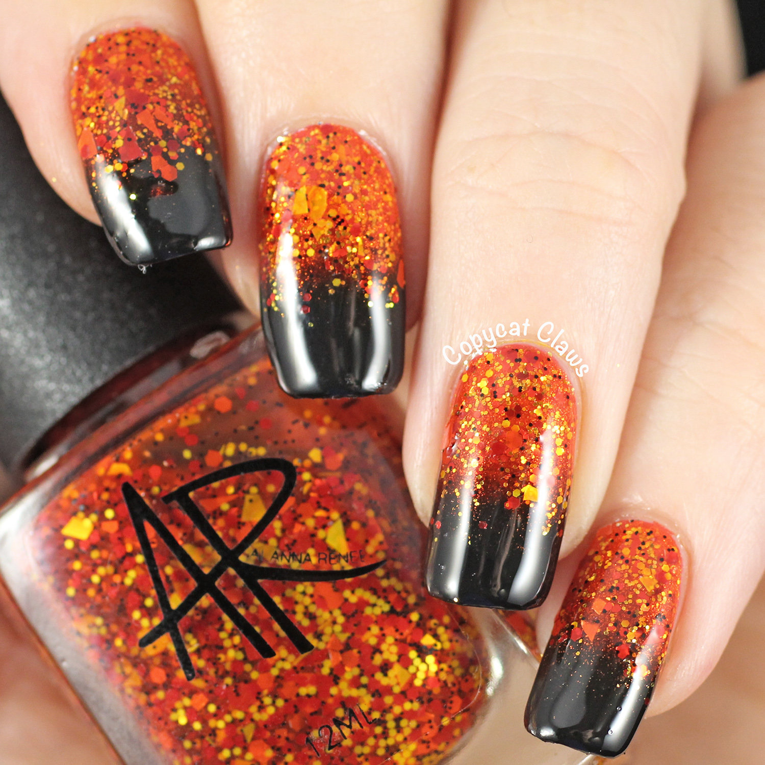 Orange Nail With Glitter