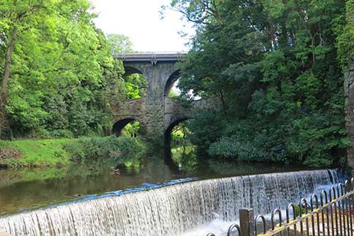 The weir at Torrs Hydro, New Mills.