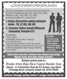 Kesempatan Bekerja di Honda Arista Raja Basa Capem Bandar Jaya Lampung Tengah Terbaru Mei 2016