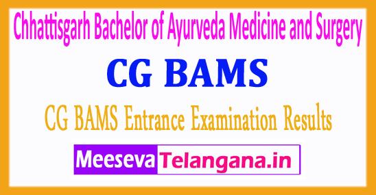 Chhattisgarh Bachelor of Ayurveda Medicine and Surgery CG BAMS Entrance Examination Results 2017