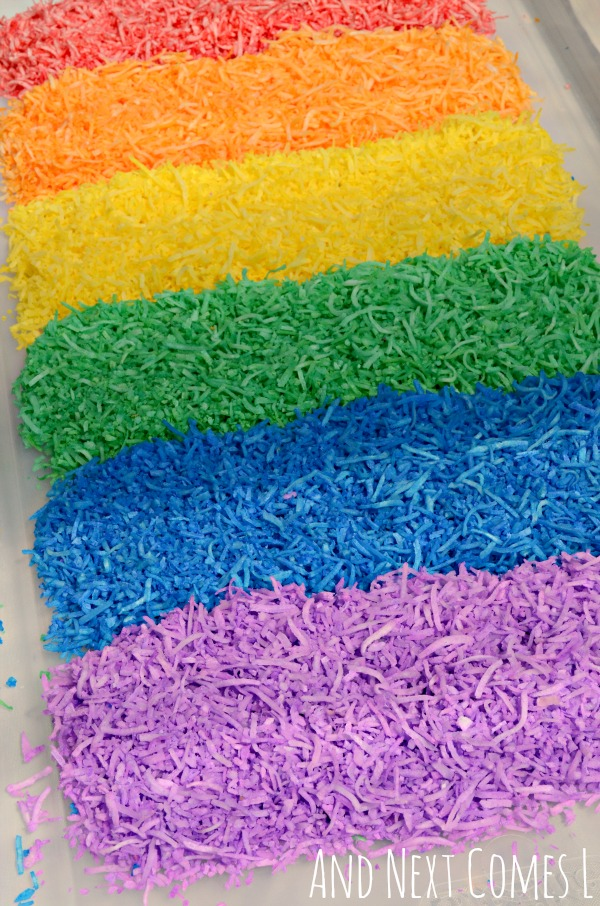 Rainbow shredded coconut for sensory play from And Next Comes L
