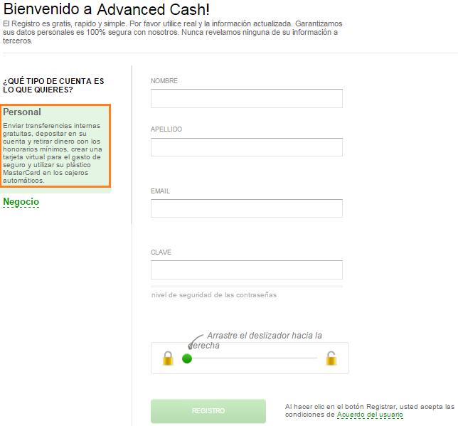 Cómo crear una cuenta en Advcash - Procesador de pagos