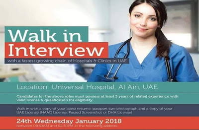 Universal Hospital Al Ain UAE Nurses Walk In Interview January 2018