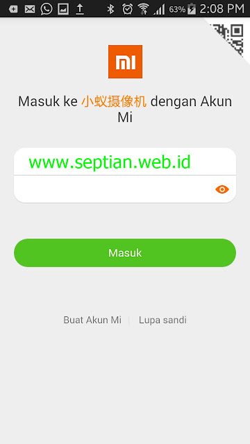 tampilan login aplikasi mi home china