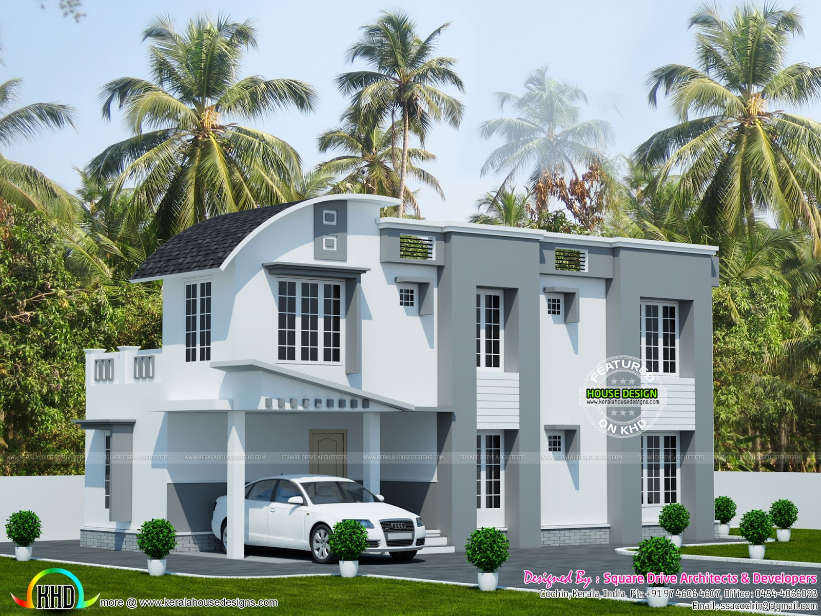 Simple home with curved roof mix kerala home design and for Curved roof house plans