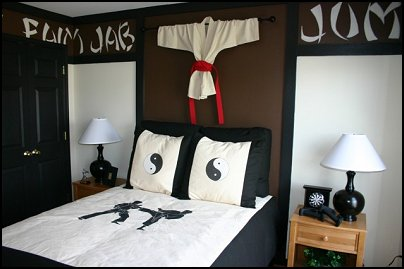 Martial arts theme decor and martial arts bedroom decorating ideas