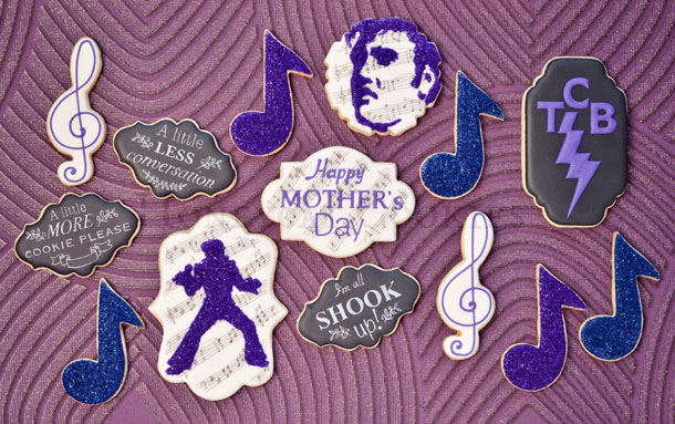 Elvis glitter and quote cookies and photo by Honeycat Cookies