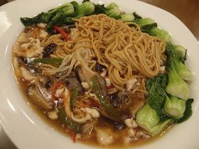 Longevity Ee-fu Noodles with Enoki Mushrooms and Seasonal Greens